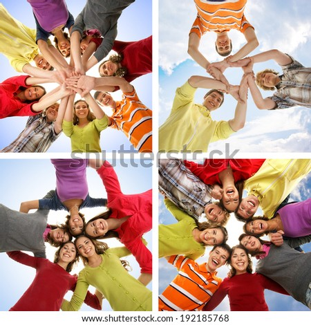 Group of smiling happy teenagers isolated on white (collage made of some different pictures) - stock photo