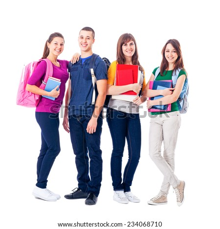 Group of smiling high school students isolated on white. - stock photo
