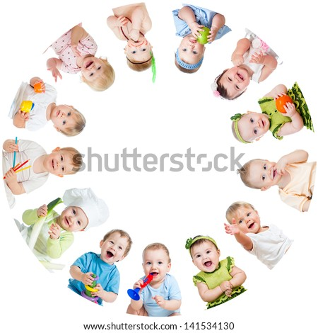 Group of smiling kids babies children arranged in circle - stock photo