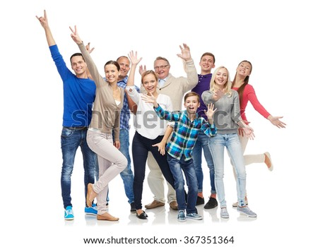 group of smiling people having fun - stock photo