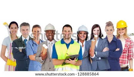 Group of smiling people with different jobs standing in line on white background - stock photo