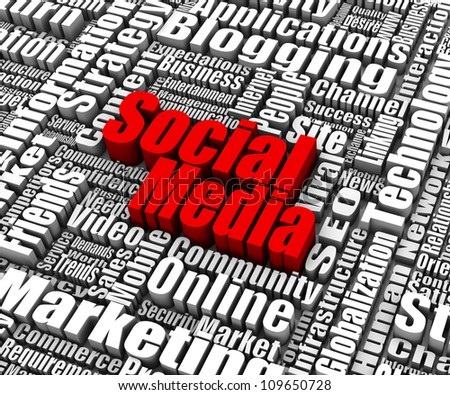 Group of Social Media related words. Part of a business concept series. - stock photo