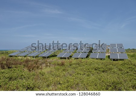 Group of solar panels with blue sky