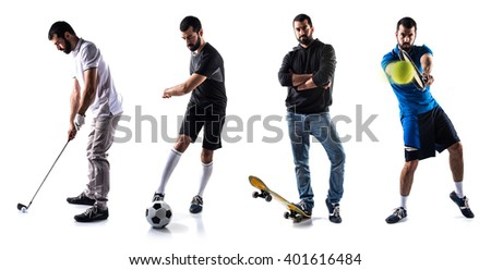 Group of sport people playing golf, tennis, football and skate - stock photo