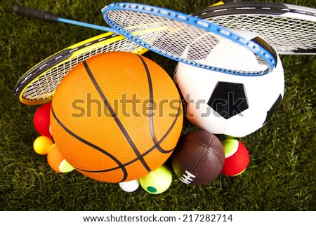 Group of sports equipment   - stock photo