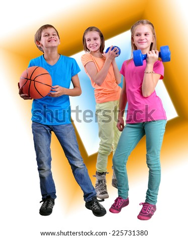 Group of sporty friends with dumbbells and ball over yellow background . Childhood, happiness, active sports lifestyle concept