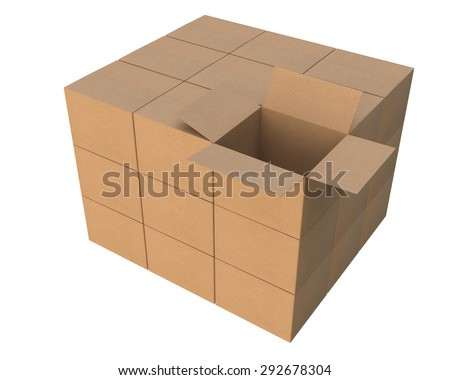 group of stacked corrugated cardboard boxes, one is open