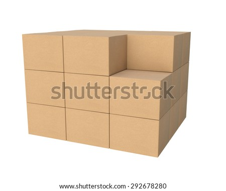 group of stacked corrugated cardboard boxes, without one box - stock photo