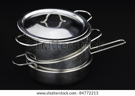 Group of stainless steel kitchenware - stock photo