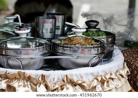 Group of stainless steel pots. - stock photo