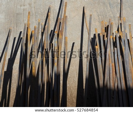 Group of Steel Rods on the Ground