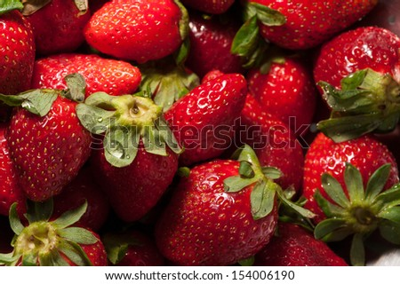 Group of strawberries, ideal for backgrounds and textures - stock photo