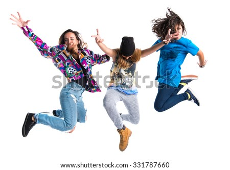 Group of street dance woman jumping - stock photo