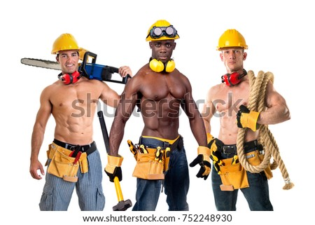 Group of strong build construction workers isolated in white