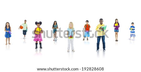Group of Student Going to School - stock photo