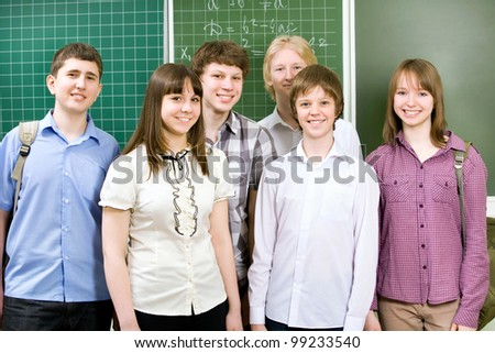 Group of students at the blackboard