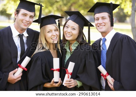 Group Of Students Attending Graduation Ceremony - stock photo