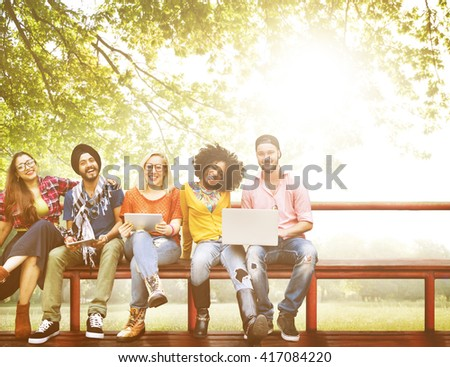 Group of Students Friends Lifestyle Talking Concept - stock photo