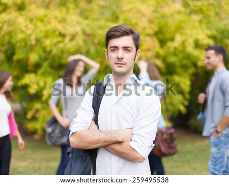 Group of students in a park - stock photo