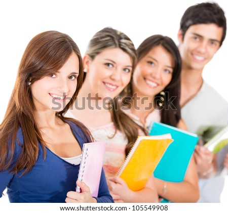 Group of students in a row - isolated over a white background - stock photo