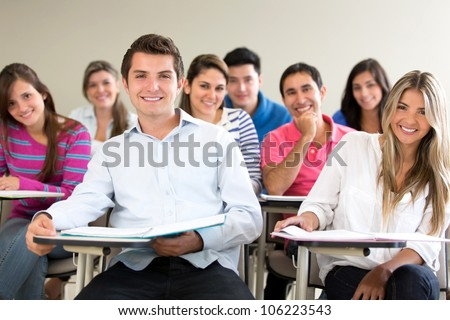 Group of students in class looking very happy
