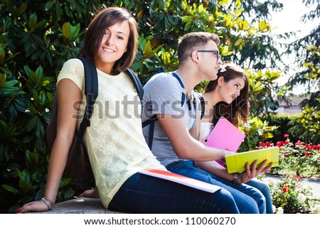 Group of students studying outdoors - stock photo