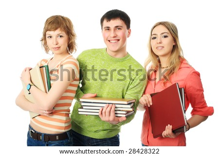 Group of students. Theme: education, friends, relations. - stock photo