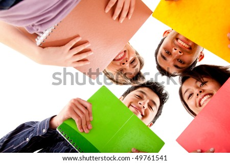Group of students with notebooks isolated over a white background