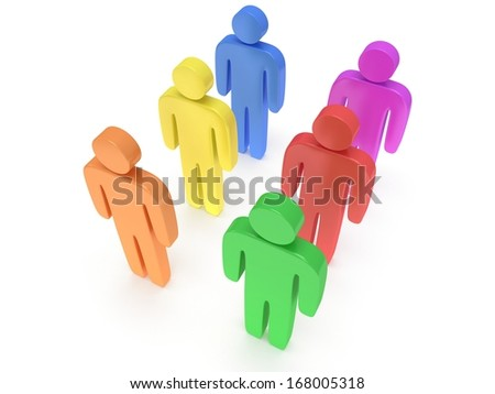 Group of stylized colored people stand on white. Isolated 3d render icon. Teamwork, business, crowd concept.