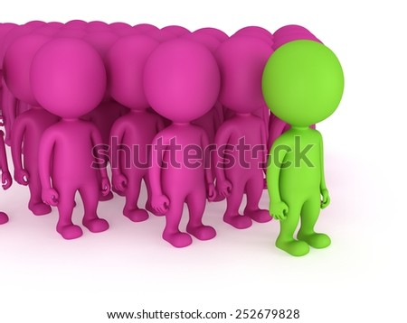 Group of stylized pink people with green teamleader stand on white in arrow form. Isolated 3d render icon. Teamwork, business, army, out of crowd concept. - stock photo