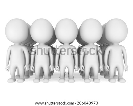 Group of stylized white people stand on white. Isolated 3d render icon. Teamwork, business, army concept.