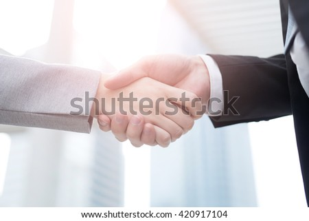 Group of success business people team shake hands in office with city background, asian - stock photo