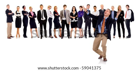 Group of successful business people, with a winning leader - stock photo