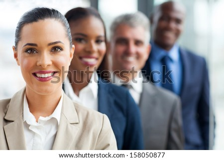 group of successful business team standing in a row