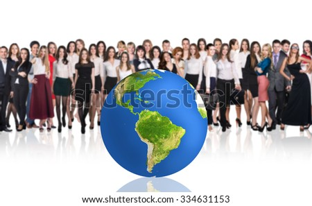 Group of successful businesspeople beside big earth ball.Elements of this image are furnished by NASA