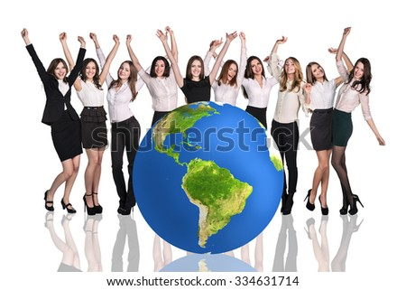 Group of successful businesspeople beside big earth ball.Elements of this image are furnished by NASA - stock photo