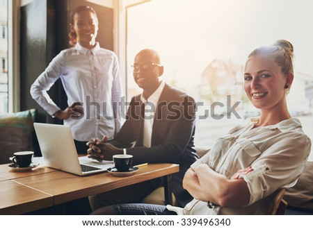 Group of successful entrepreneurs, business people, multi ethnic group working - stock photo