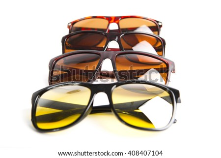 Group of sunglasses isolated on the white background