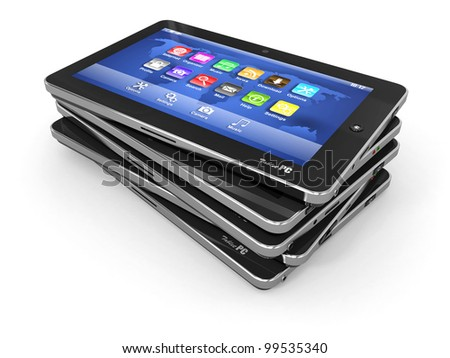 Group of tablet pc on white isolated background. 3d - stock photo