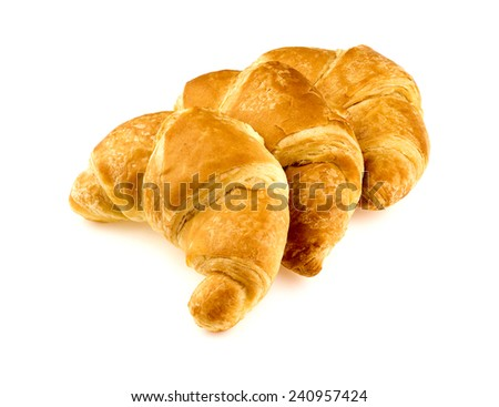 Group of tasty croissants in studio on white