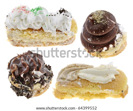 Group of tasty homemade cakes isolated on  white background