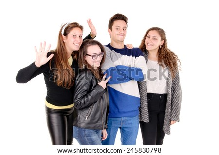 group of teenage friends isolated in white background