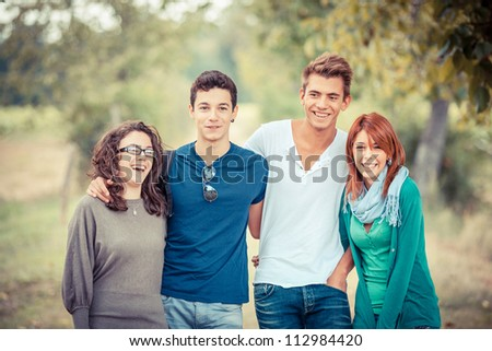 Group of Teenage Friends Outdoor - stock photo