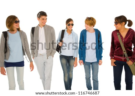 group of teenage students