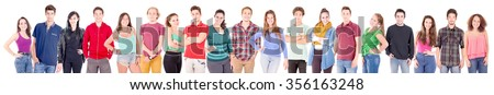 group of teenagers isolated in white background - stock photo
