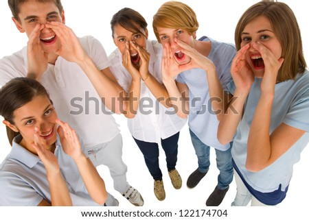 group of teenagers shouting - stock photo
