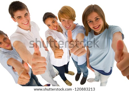 group of teenagers with thumbs up