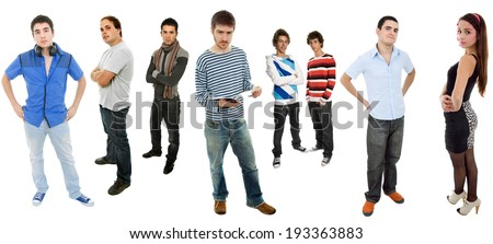 group of teens full length, isolated on white