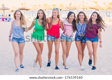 group of teens in spring break vacation - stock photo