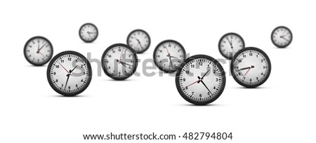 Group of ten clocks with on white background (shallow dof)